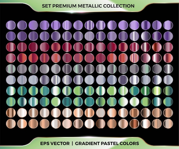 Trendy colorful gradient purple, maroon, silver, green, gold combination mega set collection of metal pastel palettes for border frame ribbon cover label templates