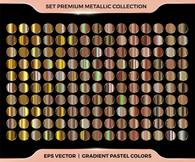 Trendy colorful gradient rose gold, copper, bronze combination  collection of metal pastel palettes templates
