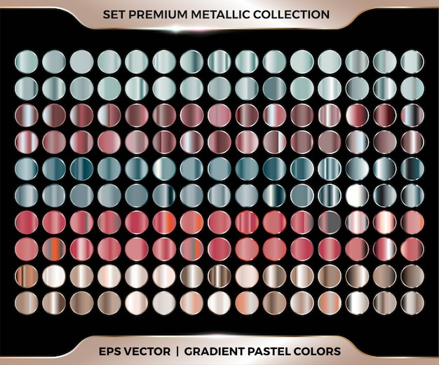 Trendy colorful gradient rose gold, red, green, brown combination mega set collection of metal pastel palettes