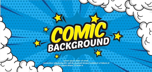 Trendy comic background with cloud and star
