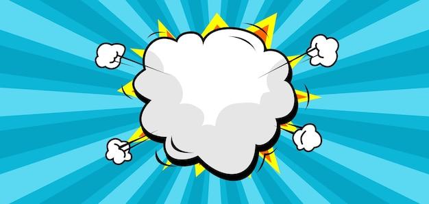 Trendy comic burst background with blank cloud speech bubble
