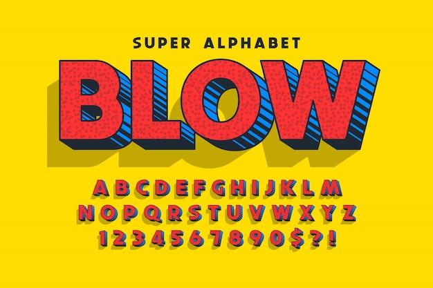 Модный смешной дизайн шрифта, красочный алфавит, шрифт.