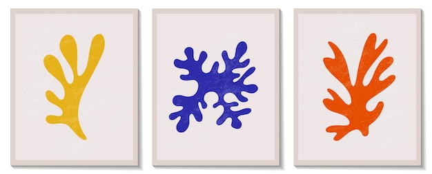 Trendy contemporary abstract matisse geometric algae composition