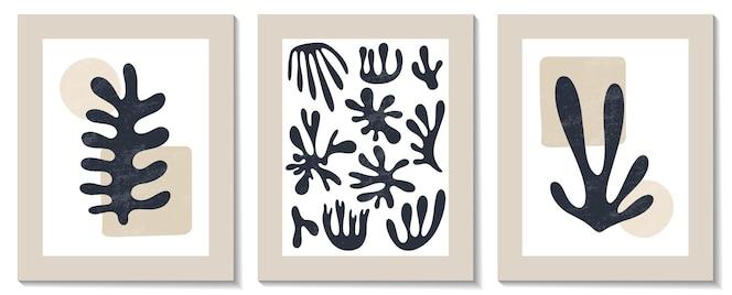 Composizione geometrica di alghe matisse astratta contemporanea alla moda
