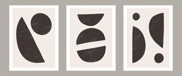 Trendy contemporary abstract wall art, set of 3 boho art prints, minimal black shapes on beige