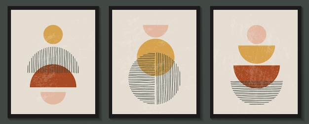 Trendy contemporary set of abstract creative geometric minimalist artistic hand painted composition