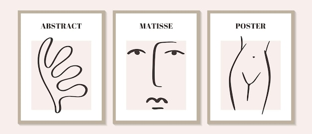 Trendy contemporary set of abstract matisse geometric minimalist artistic hand painted woman