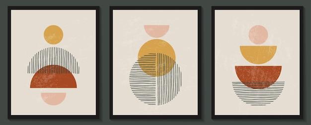 Модный современный набор абстрактных творческих геометрических минималистичных художественных композиций с ручной росписью