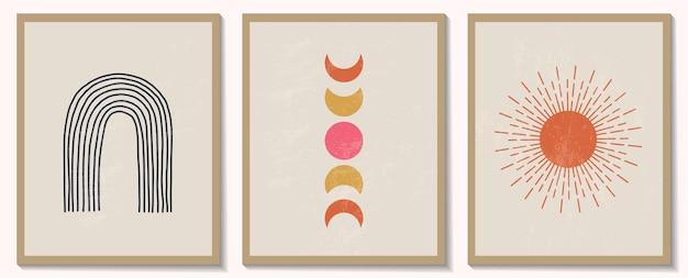 Модный современный набор абстрактных геометрических минималистичных композиций