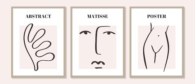 추상 마티스 기하학적 미니멀리스트 예술적 손으로 그린 여자의 유행 현대 세트