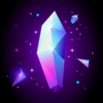 Trendy cosmic crystal gems in space. 80s style.