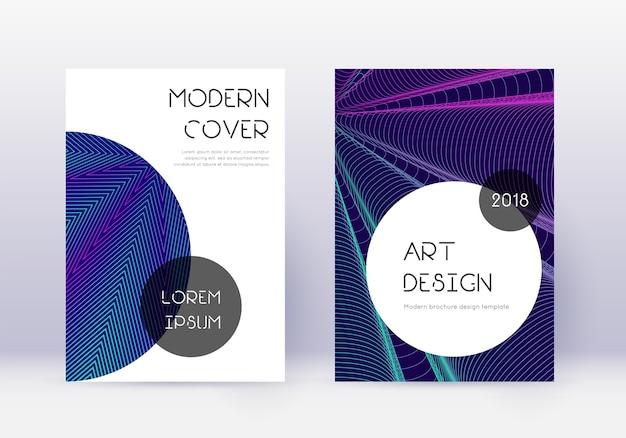 トレンディなカバーデザインテンプレートセット。ネオン抽象線。優雅なカバーデザイン。