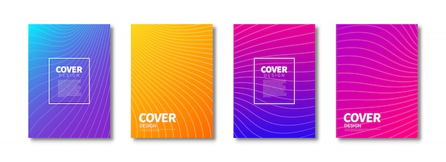 Trendy covers design. colorful modern gradients. ready covers template for use in print design.