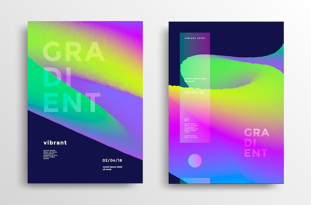 Trendy covers set with gradient shapes modern brigth backgrounds for flyer poster brochure