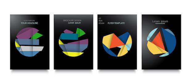 Модные шаблоны обложек с графическими геометрическими элементами.