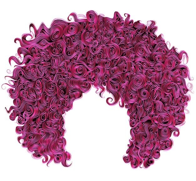 Модные вьющиеся ярко-розовые волосы на белом