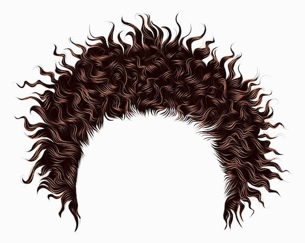 トレンディな巻き毛の乱れたアフリカの茶色の髪。リアルな3d。