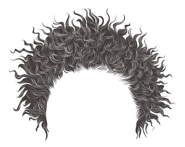 トレンディな巻き毛の乱れたアフリカ灰色の髪。リアルな3d。
