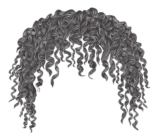 Trendy curly disheveled african gray hair  . realistic   . fashion beauty style .unisex women  men.afro