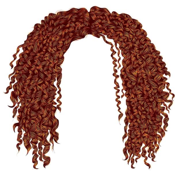 トレンディな巻き毛の乱れたアフリカの赤い髪。リアルな3d。ユニセックスアフロ