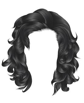Ультрамодные вьющиеся волосы русого серого цвета. средняя длина. стиль красоты. реалистичный 3d.
