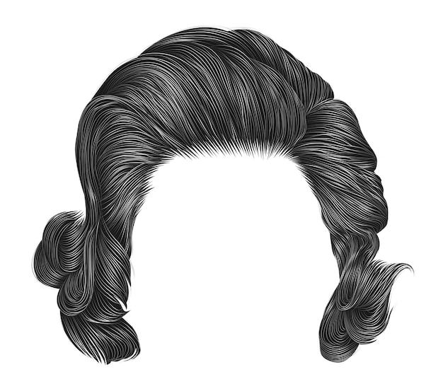 Модные вьющиеся волоски серого цвета. средняя длина. стиль красоты. реалистичный 3d