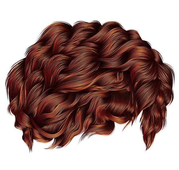 Модные вьющиеся волосы рыжий рыжий рыжий. средняя длина . мода красота стиль. реалистичные 3d графика.