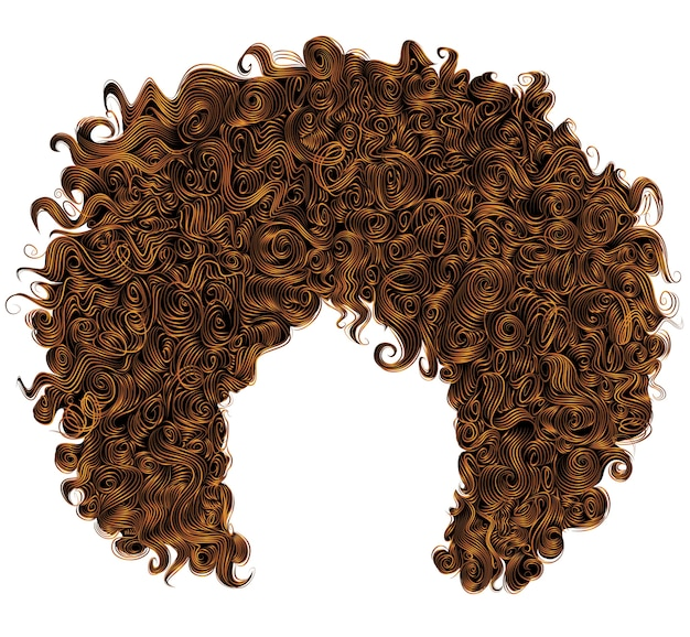 Trendy curly  red  hair  . spherical hairstyle