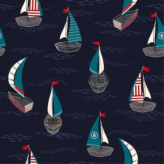 Trendy and cute hand drawn boat on the ocean seamless pattern