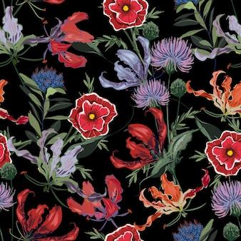 多くの種類の花のトレンディな暗い花柄