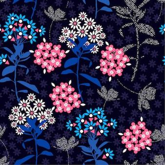 トレンディなダークな幾何学的な花のミックス