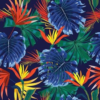 트렌디 한 다크 정글 열대 우림 대조