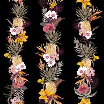 Trendy dark tropical exotic forest with blooming summer flowers and fruits create in line vertical stripe