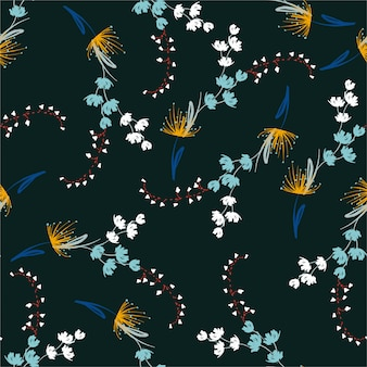 Trendy delicate hand paint brush floral seamless repeat pattern with flowers