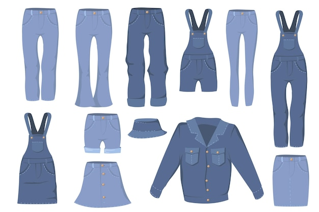 Trendy denim clothes flat set