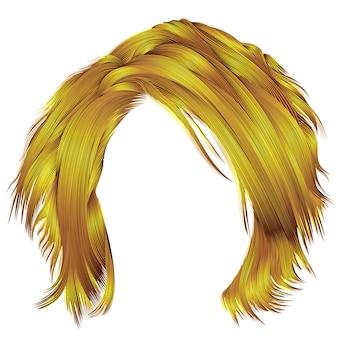 Модные растрепанные волосы ярко-желтого цвета. реалистичные 3d