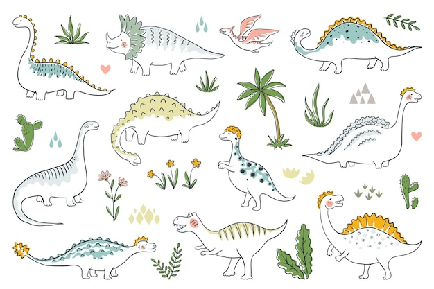 Trendy doodle dinosaurs. cute outline dino babies set, funny cartoon dragons and jurassic dinosaurs.