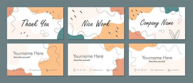 Trendy double-sided business card with abstract geometry shapes background