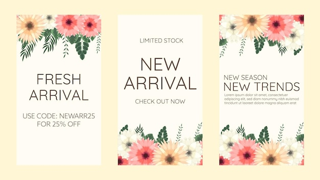 Trendy editable floral template for instagram stories, stories sale, banner background ,poster, coupon, layout composision gift card, vector illustration. design backgrounds for social media