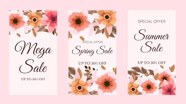 Trendy editable floral template for instagram stories stories sale banner background poster coupon