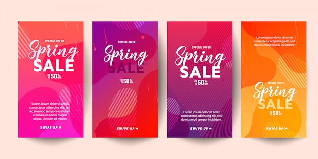 Trendy editable template spring sale banners for social networks stories