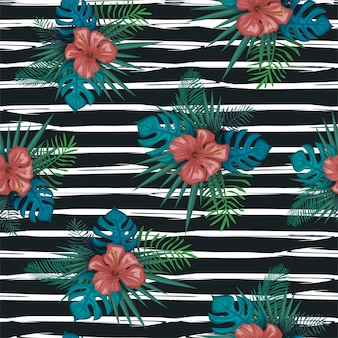 Trendy exotic garden seamless pattern with summer floral design