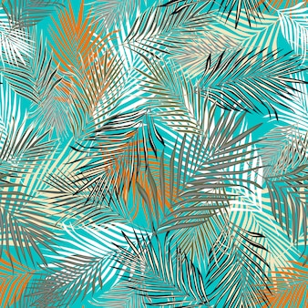 Trendy exotic plant seamless pattern.