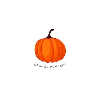トレンディな秋のオレンジ色のカボチャのロゴ。最小限のスタイル。テンプレート。