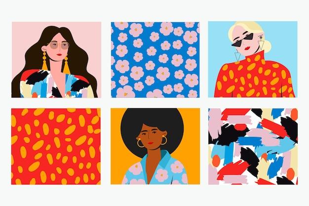 Коллекция модных портретов на обложке