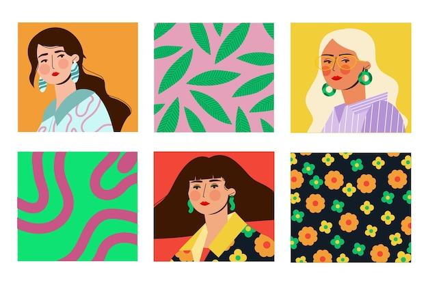 Collezione di copertine di ritratti di moda alla moda