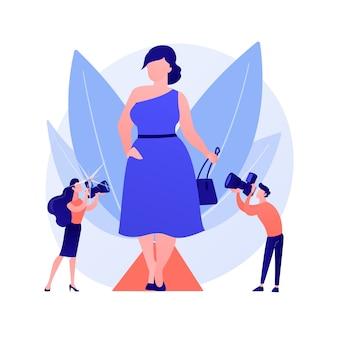 Модный показ мод. полные модели, полненькие дамы, бодипозитивные девушки. модницы больших размеров носят модную одежду и элегантные аксессуары. векторная иллюстрация изолированных концепции метафоры