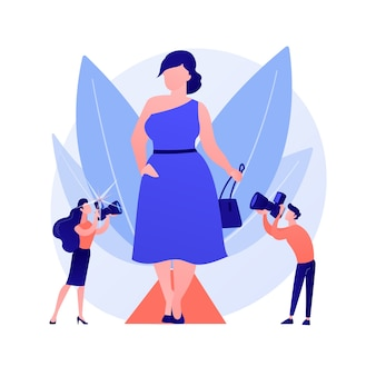 Trendy fashion show. overweight models, plump ladies, body positive girls. plus size fashionistas wearing trendy clothes and elegant accessories. vector isolated concept metaphor illustration