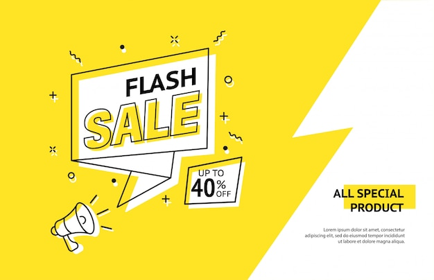 Trendy flash sale banner. vivid lightning bolt in retro design style.