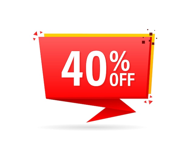 Trendy flat advertising with red 40 percent discount flat badge for promo design